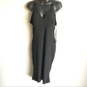 Leith Black Midi Dress Ruching Down the Back NWTS